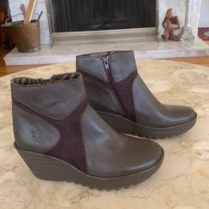 Fly London Yahoo Leather Wedge Boots